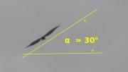 Le Circaète Jean-le-Blanc en vol : angle α = 30°
